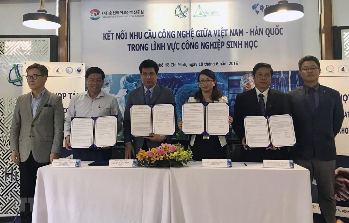 Đại diện Sihub ký kết với các nhà khoa học về hợp tác với thương mại hóa kết quả nghiên cứu. (Ảnh: Tiến Lực/TTXVN)
