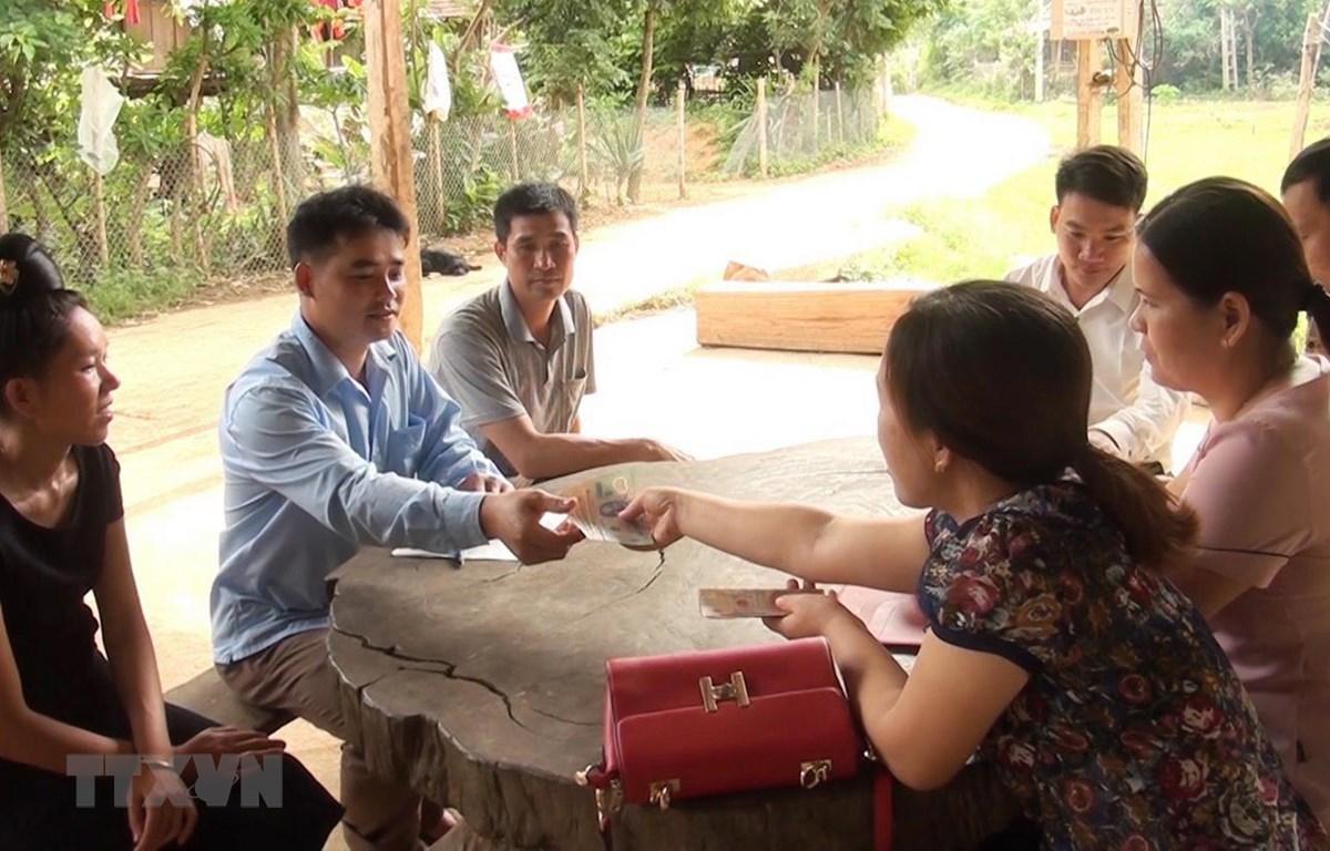 Hỗ trợ các hộ dân xã Mường Giàng có lợn tiêu hủy do dịch bệnh tả lợn châu Phi. (Ảnh: Nguyễn Cường/TTXVN)