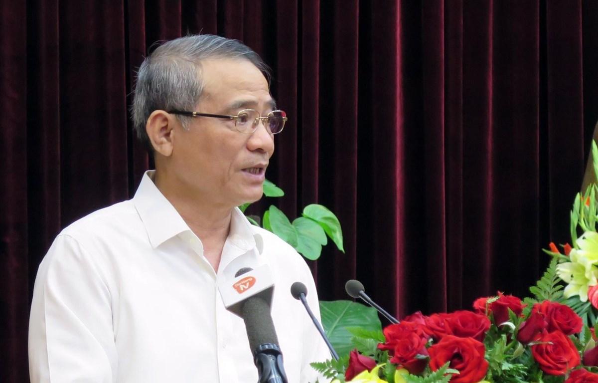 Ủy viên Trung ương Đảng, Bí thư Thành ủy Đà Nẵng Trương Quang Nghĩa phát biểu tại hội nghị. (Ảnh: Nguyễn Sơn/TTXVN)