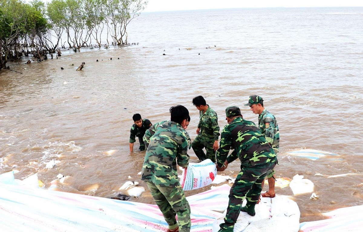 Các chiến sỹ sử dụng bao cát để gia cố chân đê biển Gò Công, tỉnh Tiền Giang năm 2018. (Ảnh: Nam Thái/TTXVN)