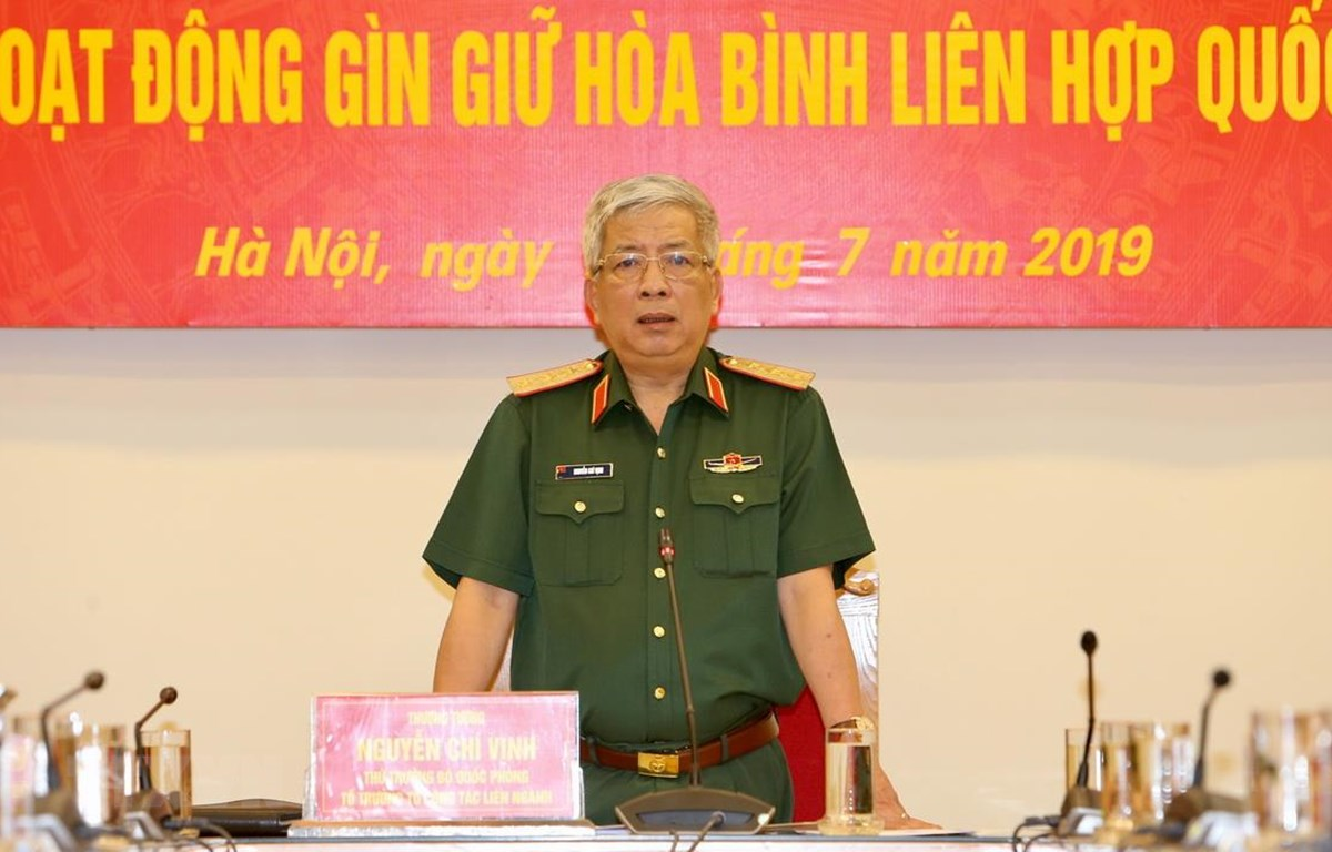 Thượng tướng Nguyễn Chí Vịnh, Thứ trưởng Bộ Quốc phòng phát biểu chỉ đạo. (Ảnh: Dương Giang/TTXVN)