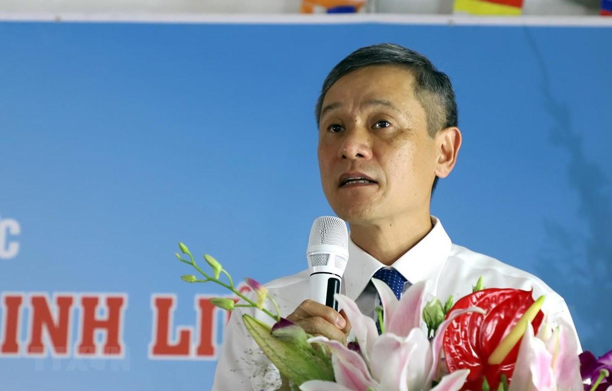 Đại sứ Việt Nam tại Cộng hòa Liên bang Đức Nguyễn Minh Vũ phát biểu lại lễ kỷ niệm. (Ảnh: Phạm Thắng/TTXVN)