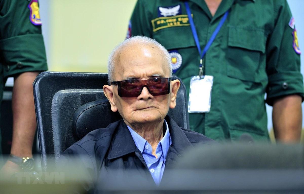 Cá»±u lãnh Äạo Khmer Äá» Nuon Chea. (Ảnh: AFP/TTXVN)
