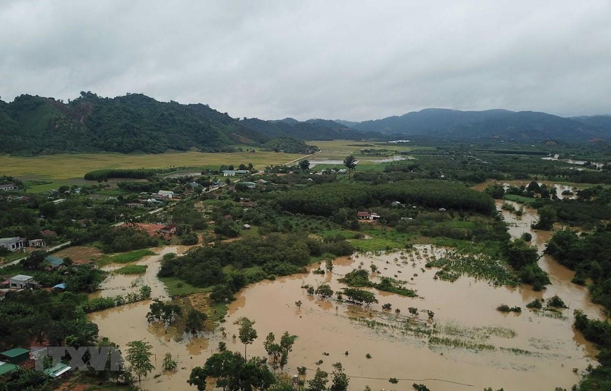 Mưa lớn khiến nhiều nơi bị ngập cục bộ, thiệt hại nặng. (Ảnh: Đặng Tuấn/TTXVN)