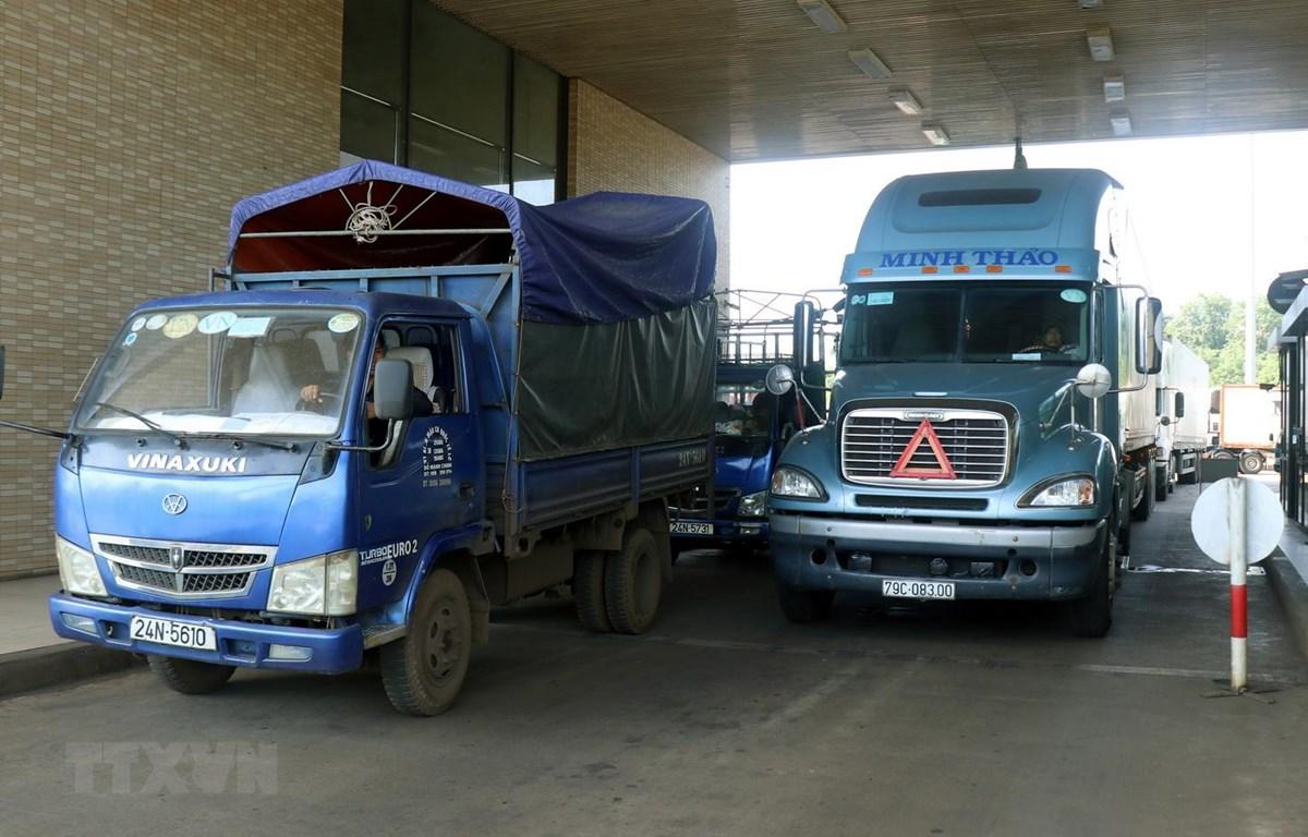 Các xe tải xếp hàng chờ được làm thủ tục thông quan tại Cửa khẩu đường bộ Kim Thành trong sáng 14/8. (Ảnh: Quốc Khánh/TTXVN)