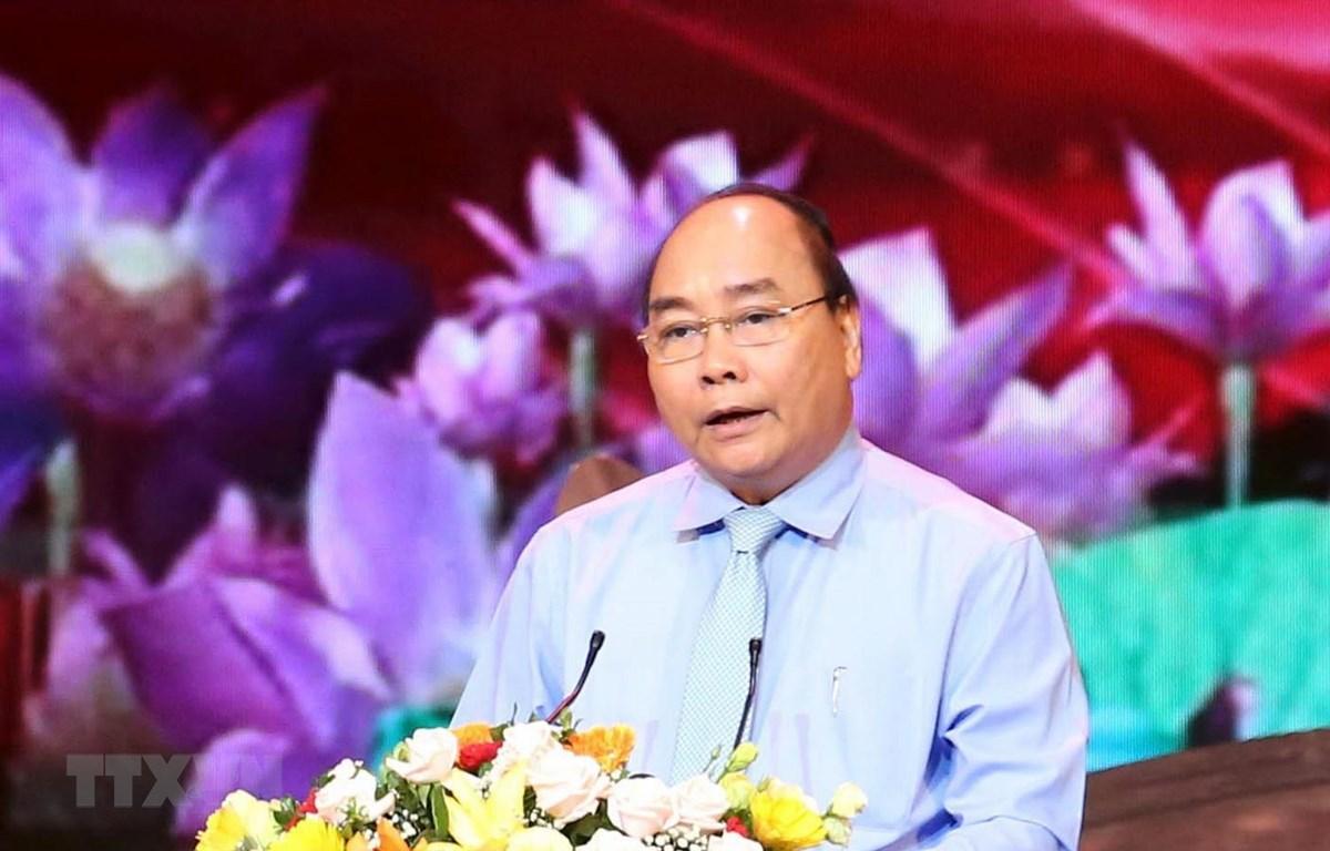Thủ tướng Nguyễn Xuân Phúc phát biểu tại chương trình. Ảnh: Phương Hoa/TTXVN