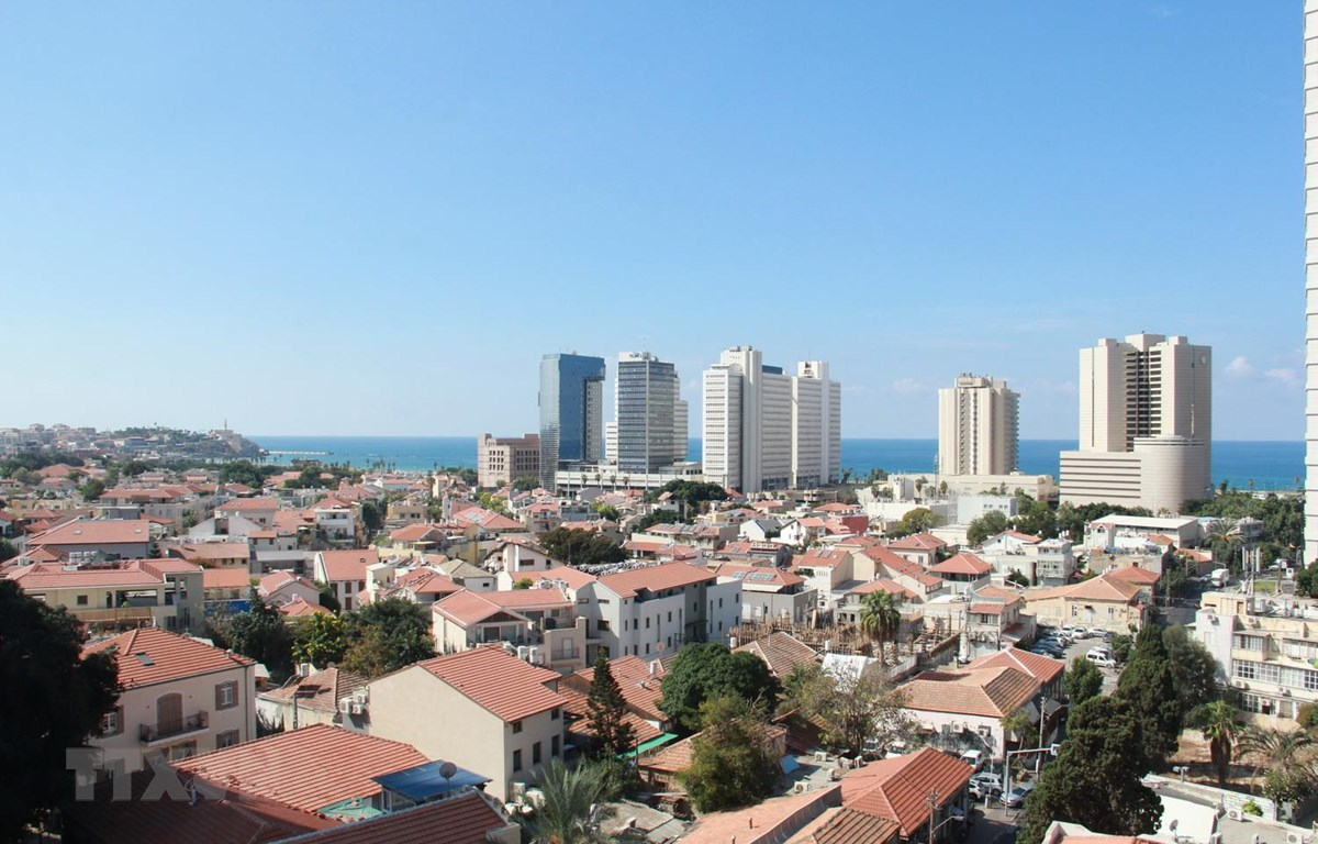 Quang cành thành phố Tel Aviv nhìn từ trên cao xuống. (Ảnh: Việt Thắng/TTXVN)