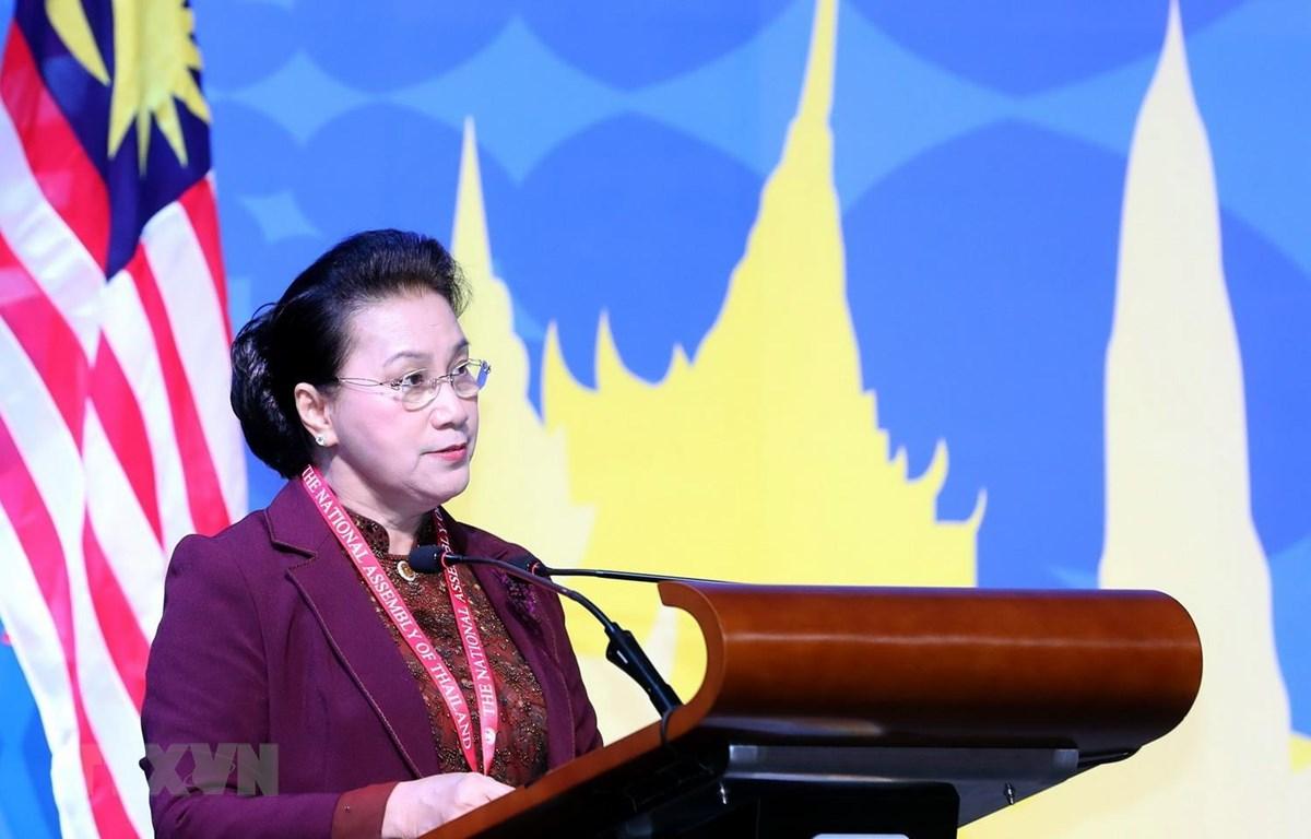 Chủ tịch Quốc hội Nguyễn Thị Kim Ngân phát biểu tại Phiên họp toàn thể thứ nhất Đại hội đồng AIPA 40. (Ảnh: Trọng Đức/TTXVN)