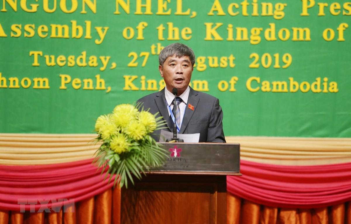 Phó Chủ nhiệm Ủy ban Quốc phòng và An ninh Quốc hội Việt Nam Trần Ngọc Khánh phát biểu tại hội nghị. (Ảnh: Trần Long-Minh Hưng/TTXVN)