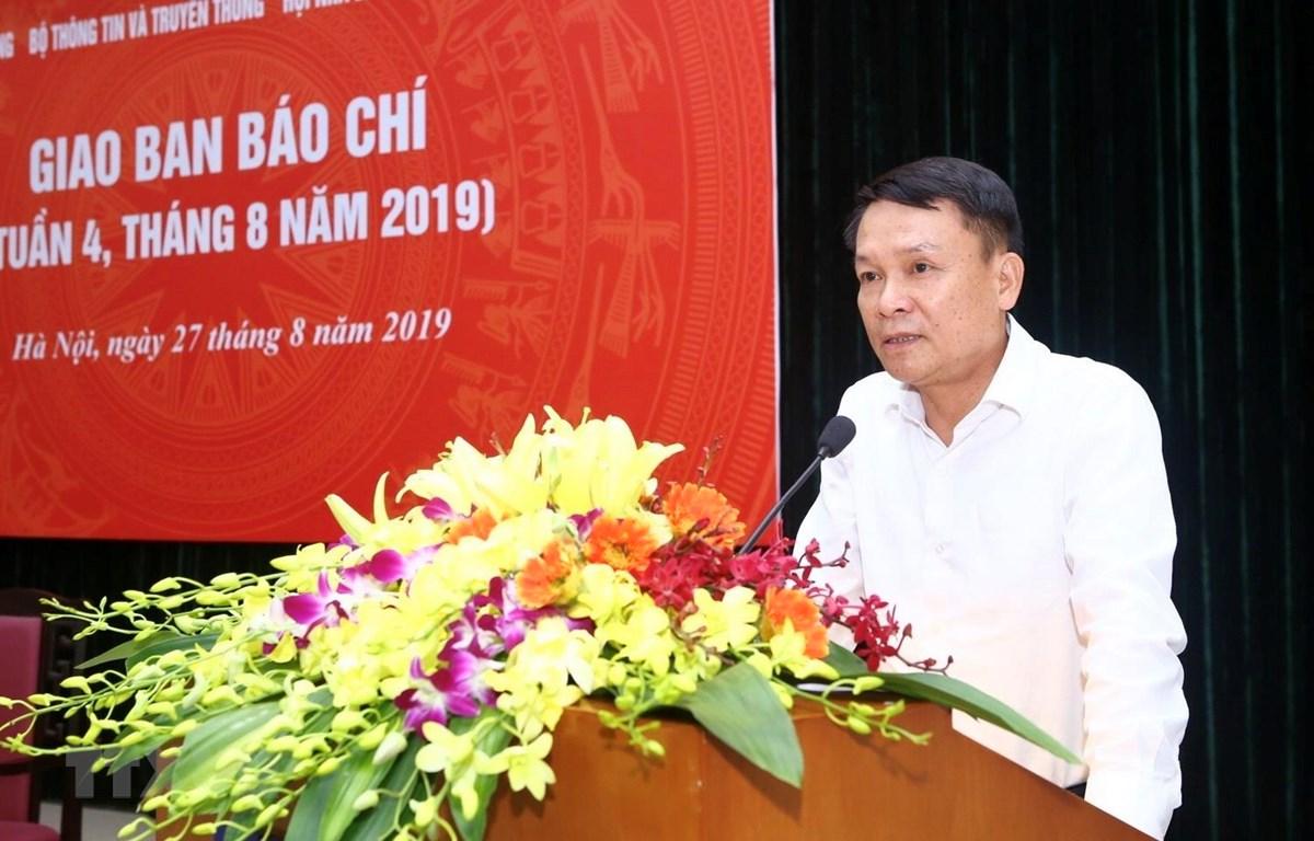 Ủy viên Trung ương Đảng, Tổng giám đốc TTXVN Nguyễn Đức Lợi phát biểu khai mạc. (Ảnh: Minh Quyết/TTXVN)