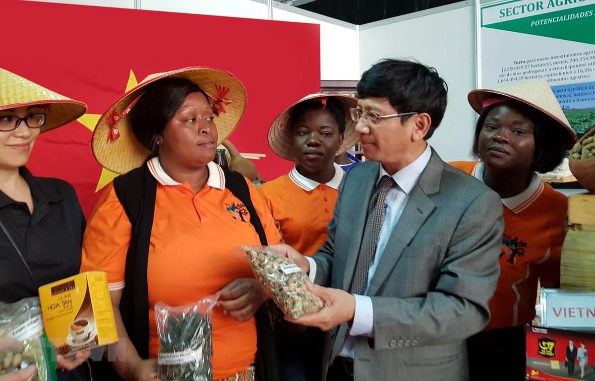 Đại sứ Việt Nam tại Mozambique Lê Huy Hoàng và cán bộ Đại sứ quán giới thiệu sản phẩm hàng hóa Việt Nam tại Hội chợ FACIM. (Ảnh: Đình Lượng/TTXVN)