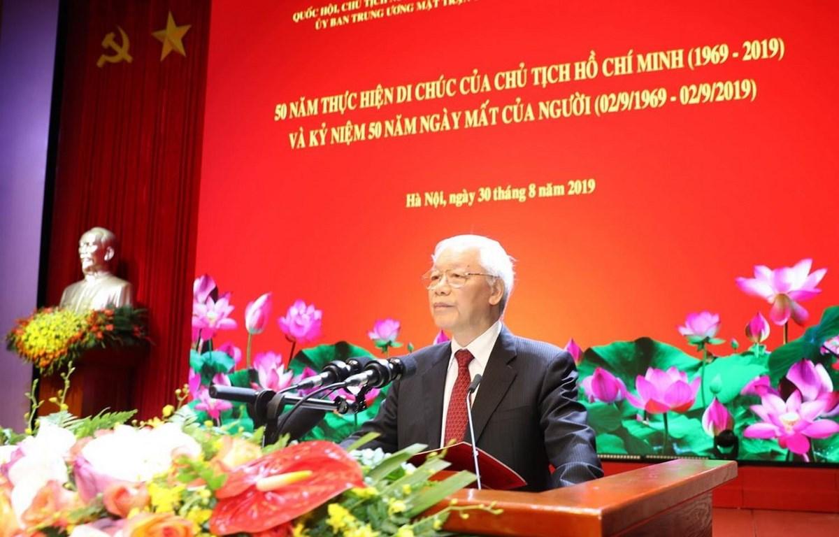 Tổng Bí thư, Chủ tịch nước Nguyễn Phú Trọng đọc diễn văn tại buổi lễ. (Ảnh: Trí Dũng/TTXVN)