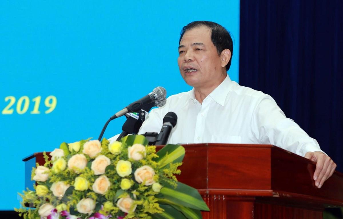 Bộ trưởng Bộ Nông nghiệp và Phát triển Nông thôn Nguyễn Xuân Cường phát biểu tại hội nghị. (Ảnh: Trần Tĩnh/TTXVN)