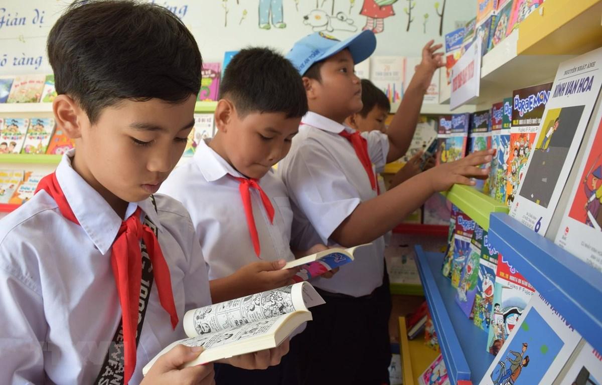 Thư viện container chính thức hoạt động tại Đồng Tháp, phục vụ cho gần 500 em học sinh tại trường Tiểu học Mỹ Hòa 1. (Ảnh: Chương Đài/TTXVN)