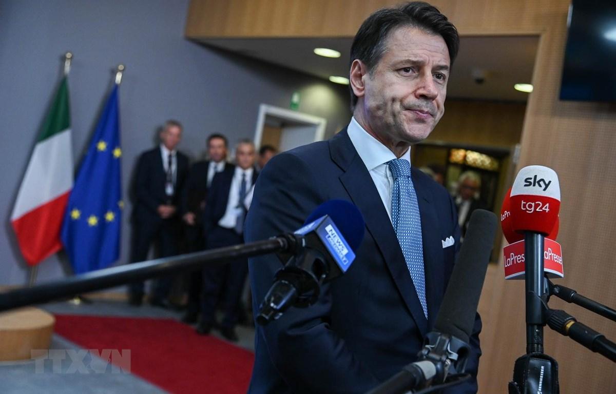 Thủ tướng Italy Giuseppe Conte tại cuộc họp báo ở Brussels của Bỉ, ngày 11/9. (Ảnh: THX/TTXVN)