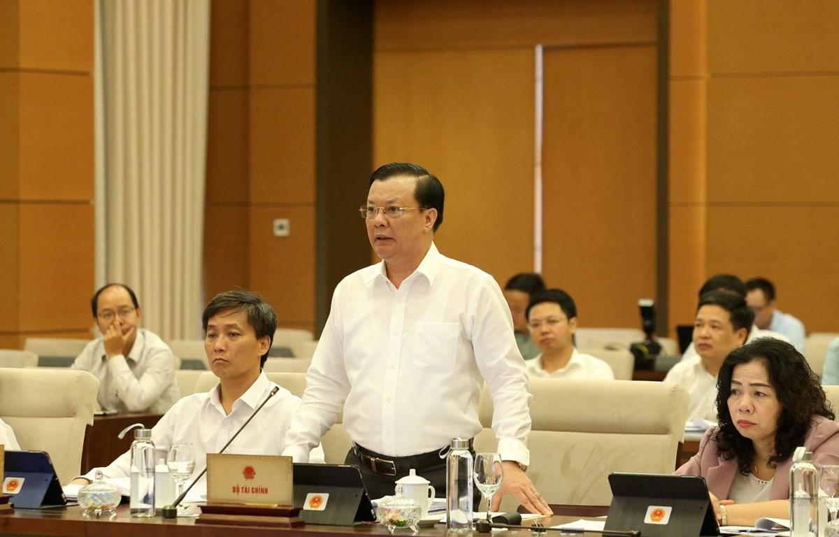 Bộ trưởng Bộ Tài chính Đinh Tiến Dũng phát biểu tại phiên họp. (Ảnh: Phương Hoa/TTXVN)