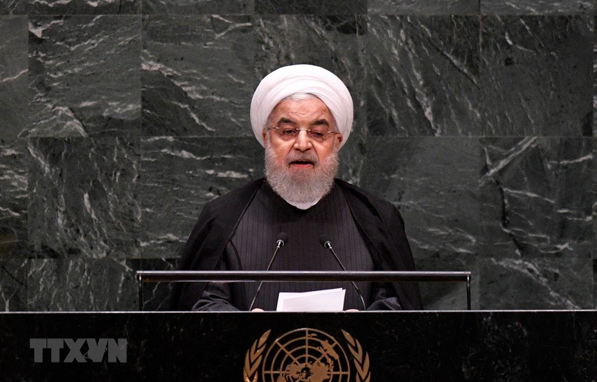Tổng thống Iran Hassan Rouhani phát biểu tại cuộc họp của ĐHĐ LHQ ở New York của Mỹ, ngày 25/9. (Ảnh: THX/TTXVN)