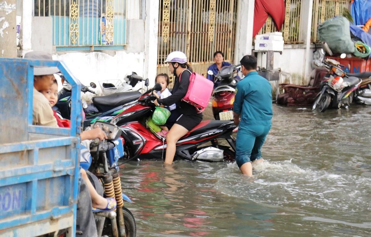 Ngập nặng trên đường Mễ Cốc, quận 8, TP.HCM. (Ảnh: Trần Xuân Tình/TTXVN)