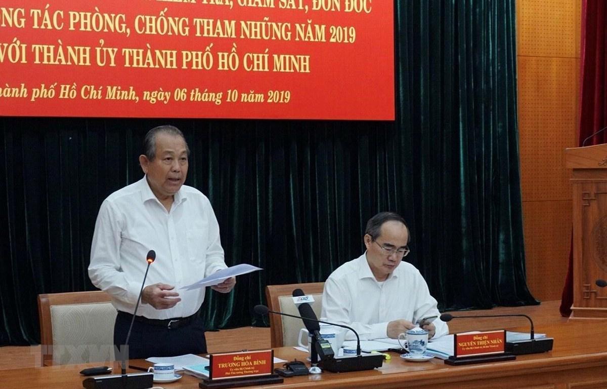 Ông Trương Hòa Bình phát biểu tại buổi làm việc. (Ảnh: Anh Tuấn/TTXVN)