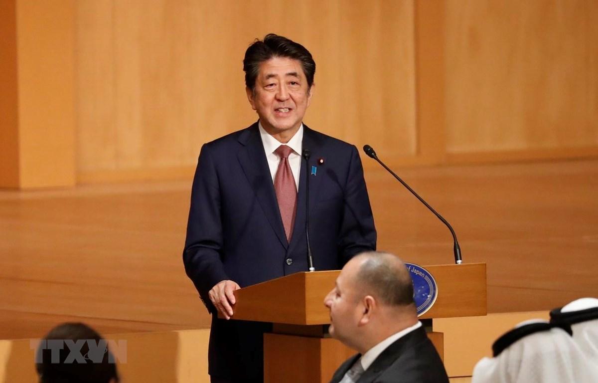 Thủ tướng Nhật Bản Shinzo Abe phát biểu tại tiệc chiêu đãi ở thủ đô Tokyo, ngày 23/10. (Ảnh: AFP/TTXVN)