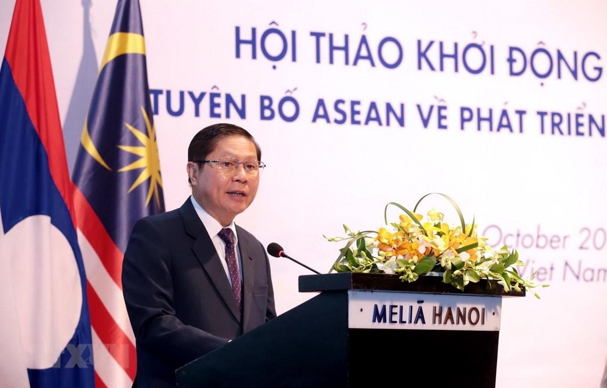Thứ trưởng Bộ Lao động-Thương binh và Xã hội Lê Tấn Dũng phát biểu tại Hội thảo. (Ảnh: Anh Tuấn/TTXVN)