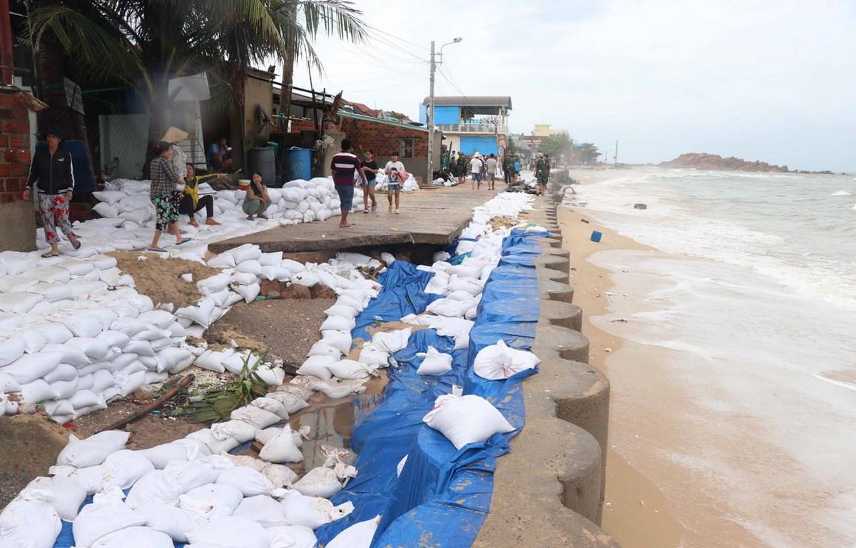 Khu vực kè biển xã Nhơn Hải đã được Bộ đội Biên phòng Bình Định hỗ trợ chèn bao cát chống xói lở. (Ảnh: Phạm Kha/TTXVN)