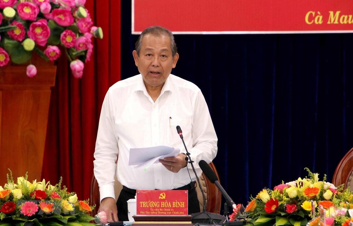 Phó Thủ tướng Thường trực Chính phủ Trương Hòa Bình phát biểu chỉ đạo tại buổi làm việc. (Ảnh: Kim Há/TTXVN)