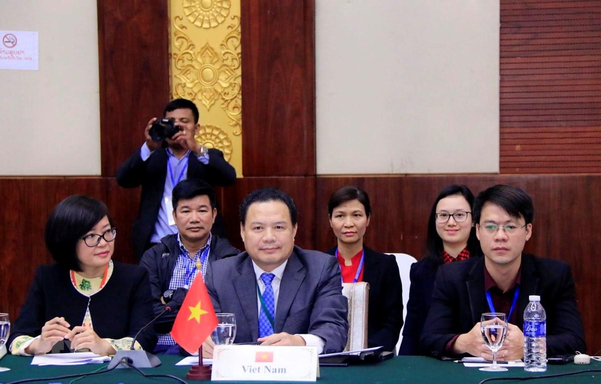 Đoàn Việt Nam tại Hội nghị. (Ảnh: Phạm Kiên/TTXVN)