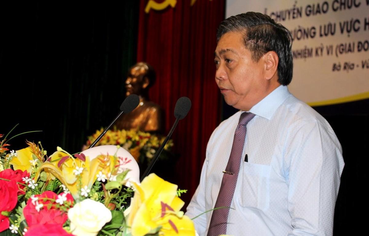 Ông Lê Tuấn Quốc, Phó Chủ tịch UBND tỉnh Bà Rịa-Vũng Tàu phát biểu tại Phiên họp lần thứ 13 Ủy ban Bảo vệ lưu vực hệ thống sông Đồng Nai. (Ảnh: Hoàng Nhị/TTXVN)