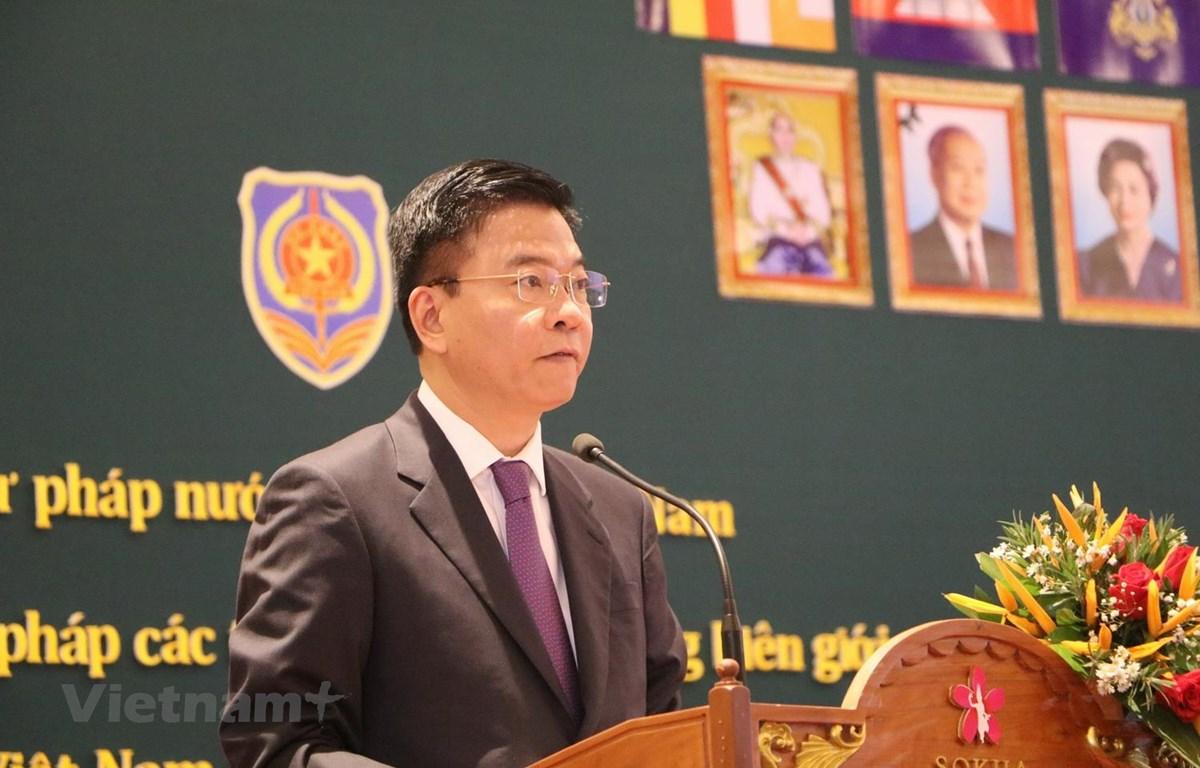 Bộ trưởng Tư pháp Lê Thành Long phát biểu tại Hội nghị. (Ảnh: Long-Hùng-Nhung/Vietnam+)