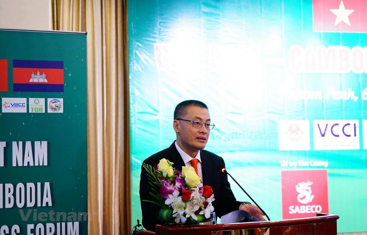 Đại sứ Việt Nam tại Campuchia Vũ Quang Minh phát biểu tại diễn đàn. (Ảnh: Long-Hùng-Nhung/Vietnam+)