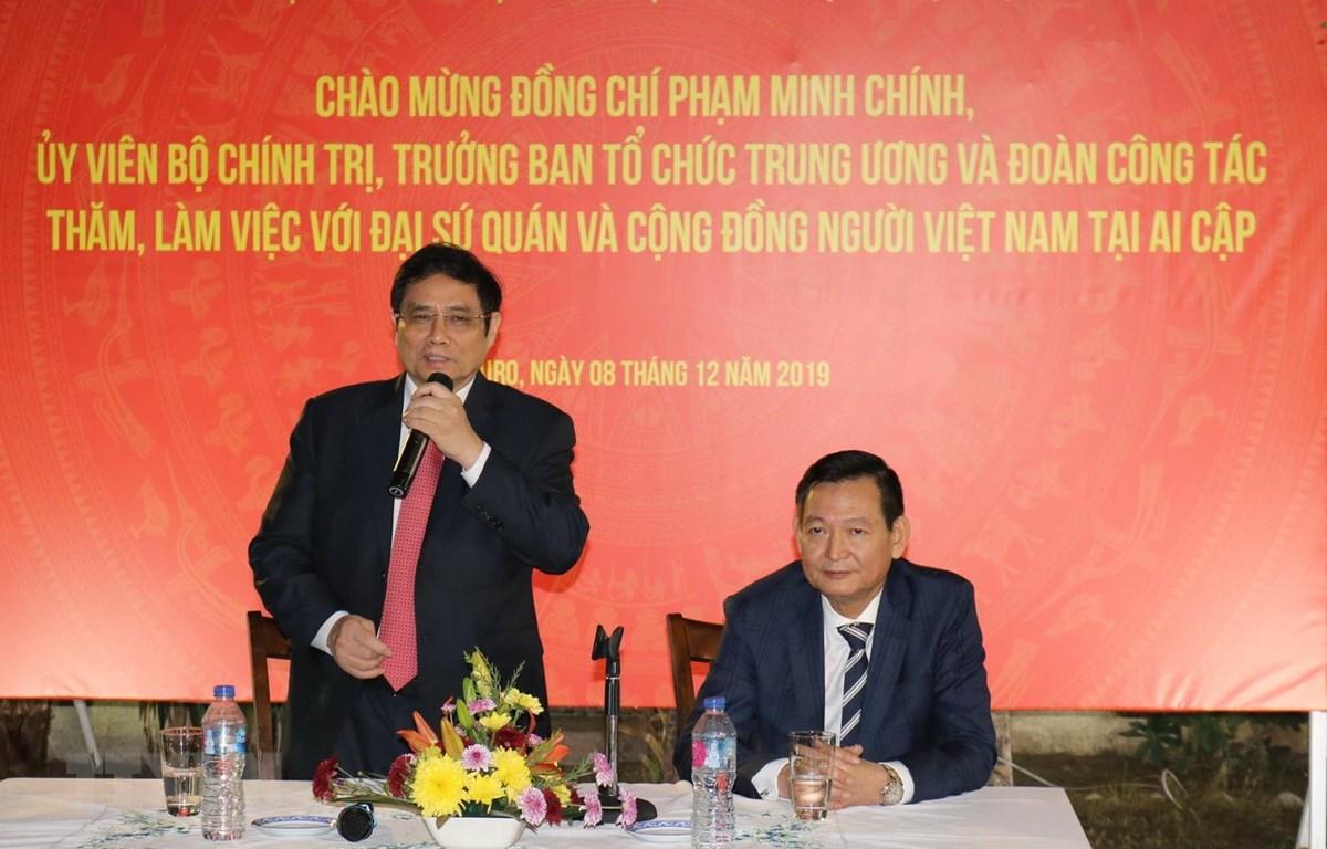 Trưởng Ban Tổ chức Trung ương Phạm Minh Chính phát biểu tại buổi gặp gỡ. (Ảnh: Anh Tuấn/TTXVN)