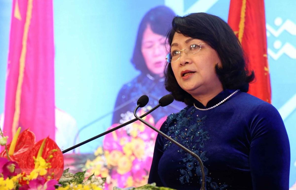 Phó Chủ tịch nước Đặng Thị Ngọc Thịnh phát biểu tại buổi lễ. (Ảnh: Đinh Văn Nhiều/TTXVN)