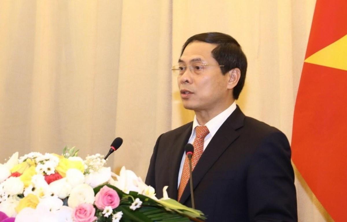 Thứ trưởng Thường trực Bộ Ngoại giao Bùi Thanh Sơn phát biểu. (Ảnh: Văn Điệp/TTXVN)