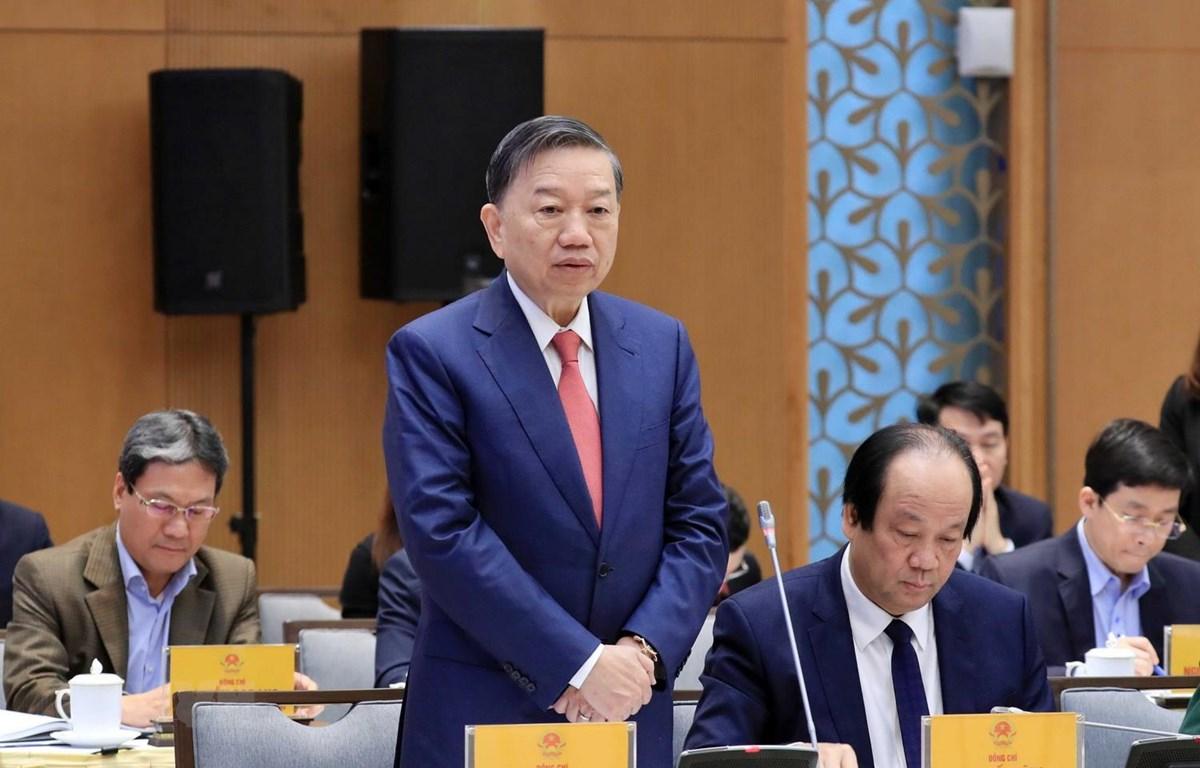 Đại tướng Tô Lâm, Ủy viên Bộ Chính trị, Bộ trưởng Bộ Công an phát biểu. (Ảnh: Thống Nhất/TTXVN)