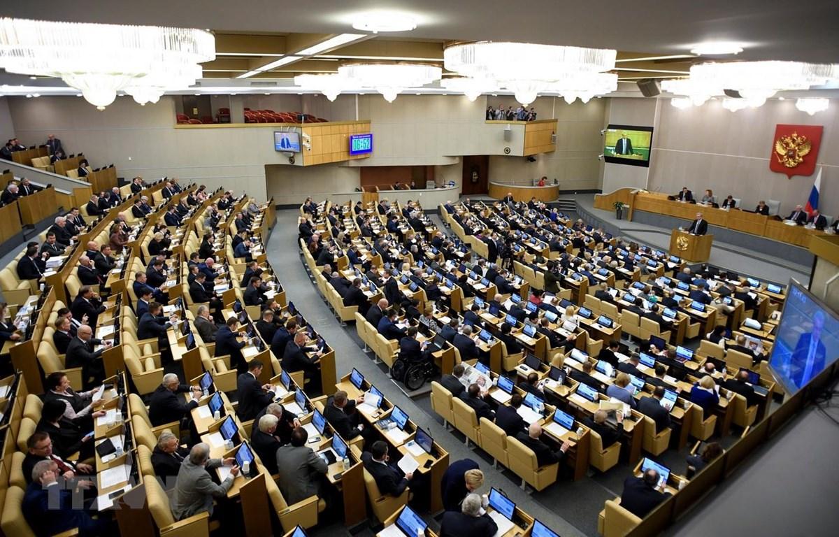 Toàn cảnh phiên họp của của Duma Quốc gia (Hạ viện) Nga tại Moskva. (Ảnh: AFP/TTXVN)