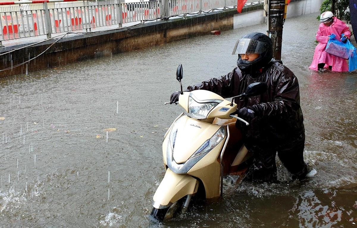 Tuyến đường Trần Hưng Đạo, thành phố Nam Định ngập sâu, khiến người và phương tiện tham gia giao thông gặp nhiều khó khăn ngày đầu năm. (Ảnh: Văn Đạt/TTXVN)