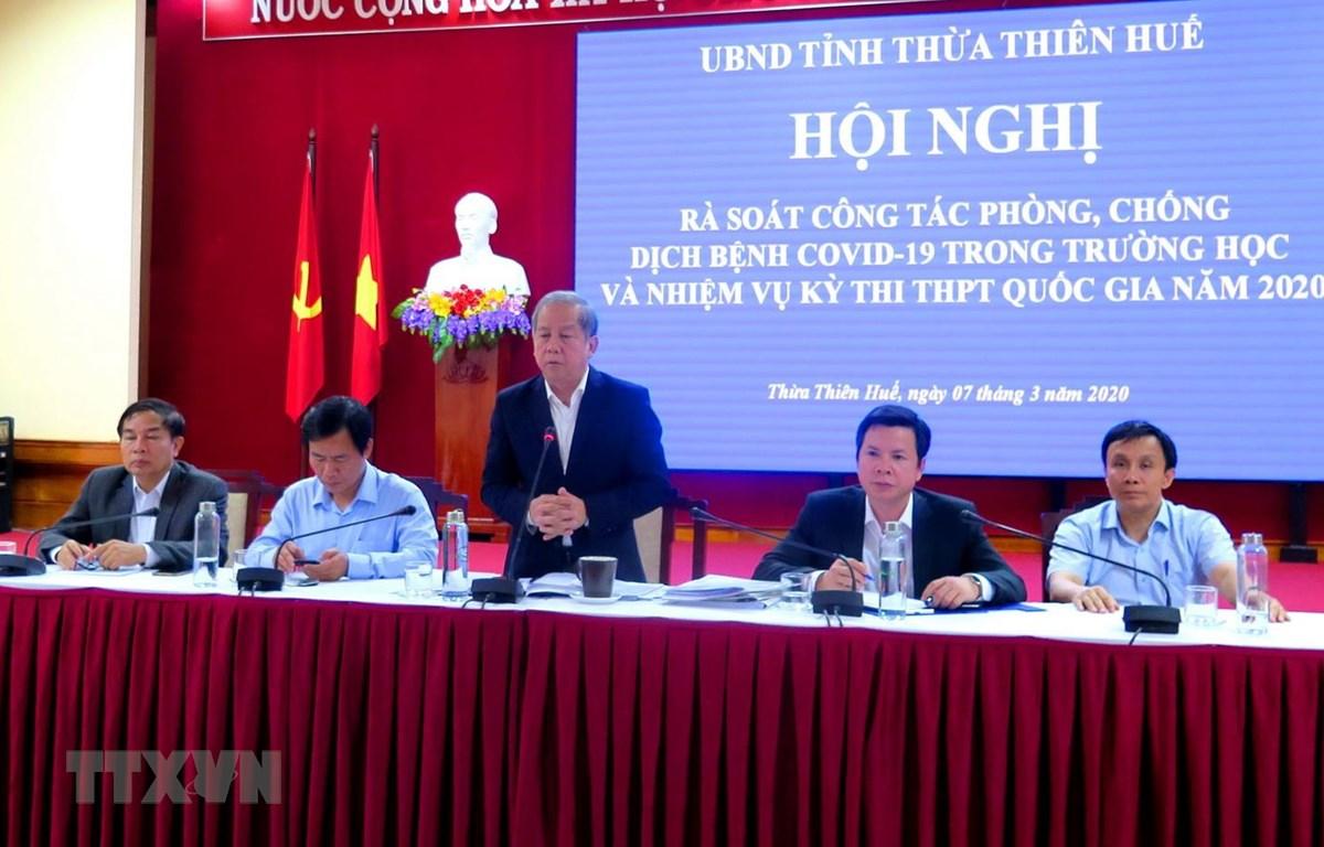 Chủ tịch UBND tỉnh Thừa Thiên-Huế Phan Ngọc Thọ phát biểu tại hội nghị. (Ảnh: Tường Vi/TTXVN)