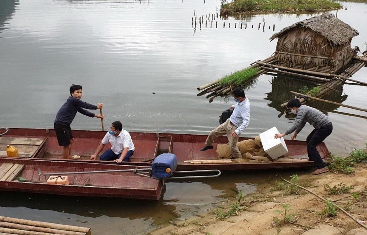 Lực lượng Thú y lấy mẫu xác định nguyên nhân cá trên sông Mã chết bất thường. (Ảnh: TTXVN phát)