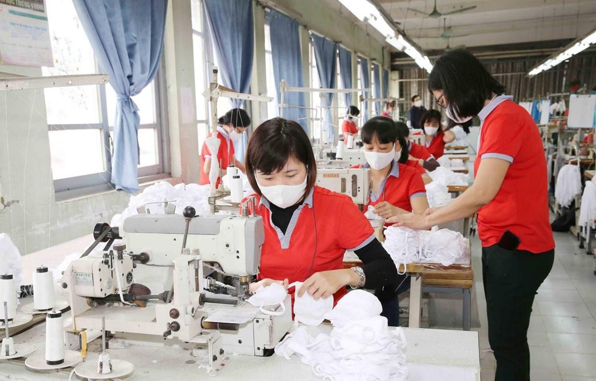 Công nhân Xí nghiệp may 1, Công ty Cổ phần May Chiến Thắng sản xuất khẩu trang vải dệt kim kháng khuẩn. (Ảnh: Phương Hoa/TTXVN)