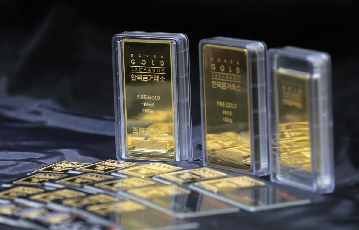 Vàng được bày bán tại Seoul, Hàn Quốc. (Ảnh: Yonhap/TTXVN)