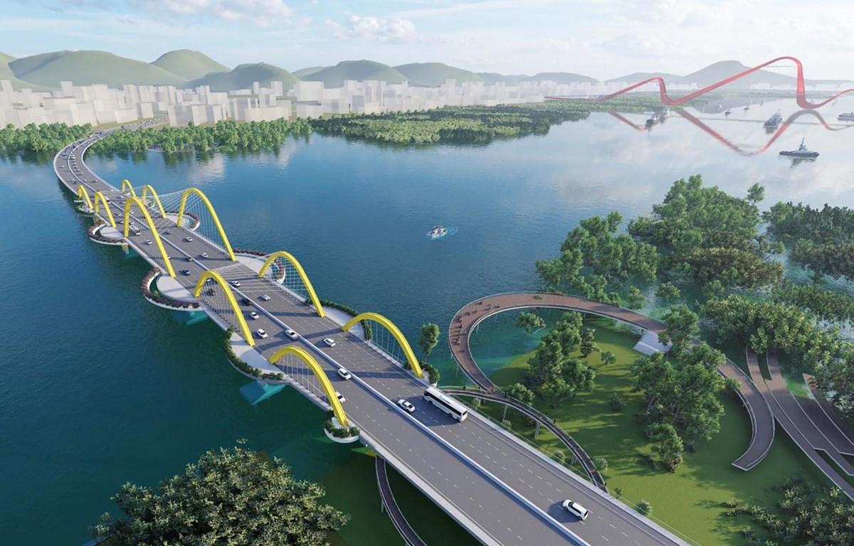 Cầu Cửa Lục 1 nối đôi bờ vịnh Cửa Lục sẽ giảm tải cho cầu Bãi Cháy, kết nối thuận lợi các khu vực thành phố Hạ Long. (Nguồn: quangninh.gov)