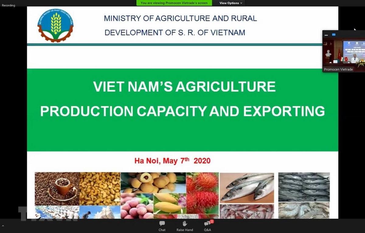 Đại diện Bộ Nông nghiệp và Phát triển Nông thôn Việt Nam trình bày về các lợi thế của nông sản, thực phẩm chế biến Việt Nam. (Ảnh: Huy Lê/TTXVN)