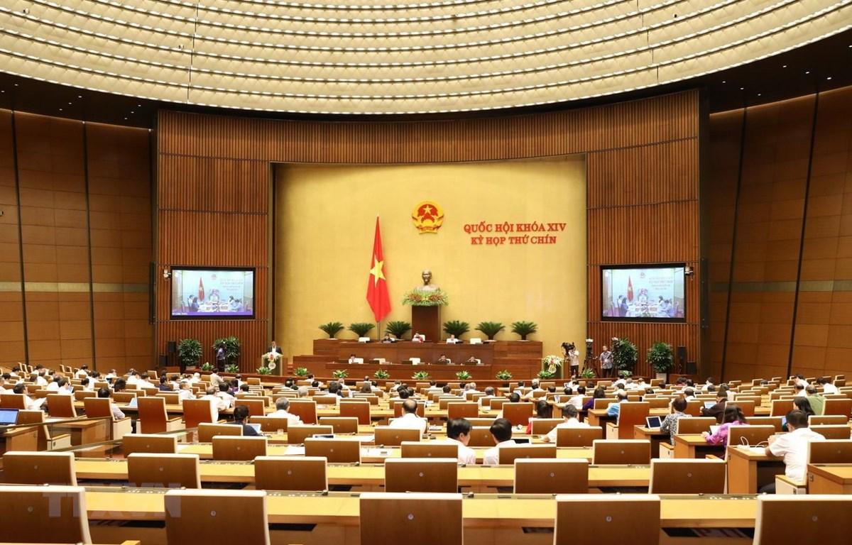 Chiều 20/5 vừa qua, Quốc hội họp trực tuyến thảo luận việc phê chuẩn Hiệp định Thương mại tự do EVFTA, EVIPA. (Ảnh: TTXVN)