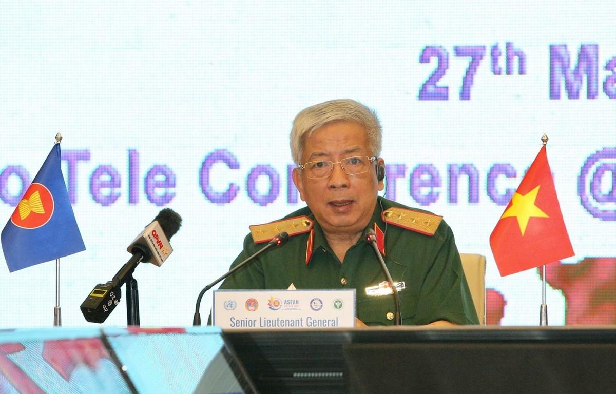 Thượng tướng Nguyễn Chí Vịnh, Thứ trưởng Bộ Quốc phòng phát biểu khai mạc diễn tập. (Ảnh: Dương Giang/TTXVN)
