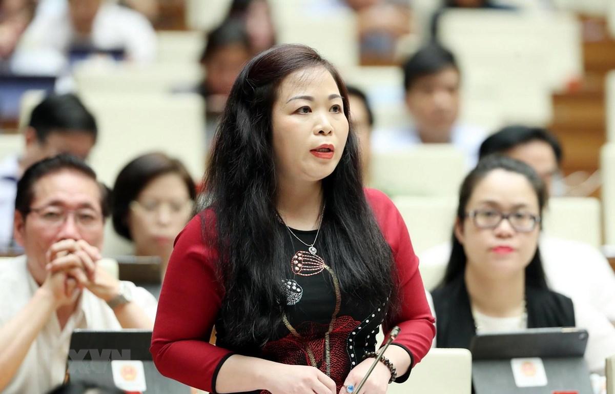 Đại biểu Quốc hội thành phố Hà Nội Vũ Thị Lưu Mai phát biểu tại hội trường. (Ảnh: Trọng Đức/TTXVN)