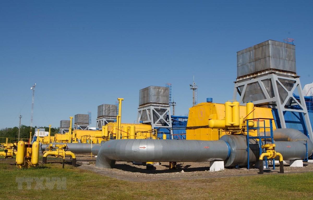 Đường ống dẫn khí đốt tại cơ sở dự trữ khí đốt Bilche-Volytsko-Uherske ở gần làng Bilche, khu vực Lviv, Ukraine. (Ảnh: AFP/TTXVN)