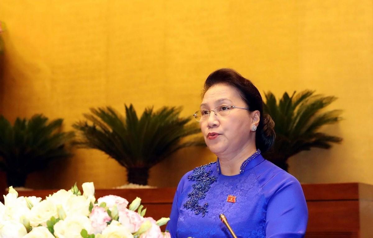 Chủ tịch Quốc hội Nguyễn Thị Kim Ngân phát biểu bế mạc. (Ảnh: Trọng Đức/TTXVN)