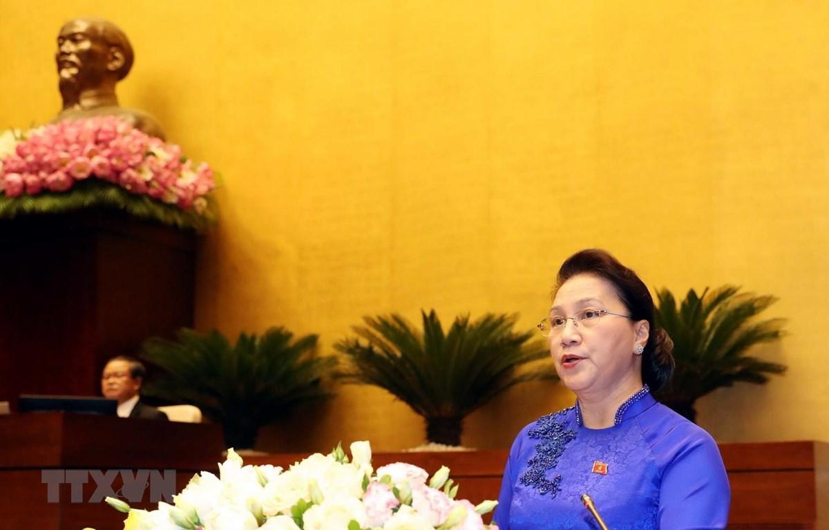 Chủ tịch Quốc hội Nguyễn Thị Kim Ngân phát biểu bế mạc kỳ họp. (Ảnh: Trọng Đức/TTXVN)