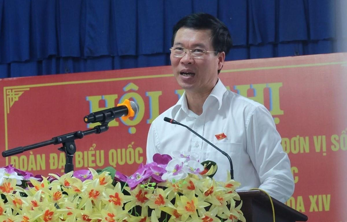 Trưởng Ban Tuyên giáo Trung ương Võ Văn Thưởng phát biểu tại buổi tiếp xúc cử tri. (Ảnh: Công Phong/TTXVN)